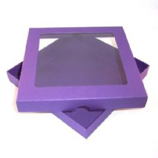 "9"" x 9"" Purple Invitation Boxes With Aperture Lid"